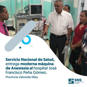 Gerente del SRSCO Entrega Maquina de Anestesia al Hospital Materno Infantil de Mao.